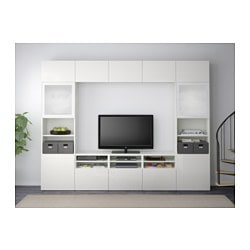 Wohnwand ikea besta  BESTÅ TV storage combination/glass doors - white/Selsviken high ...