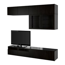 "BESTÅ TV storage combination/glass doors, Lappviken, Sindvik black-brown clear glass Width: 94 1/2 "" Depth: 15 3/4 "" Height: 90 1/2 "" Width: 240 cm Depth: 40 cm Height: 230 cm"