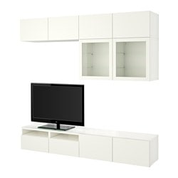 "BESTÅ TV storage combination/glass doors, Lappviken, Sindvik white clear glass Width: 94 1/2 "" Depth: 15 3/4 "" Height: 90 1/2 "" Width: 240 cm Depth: 40 cm Height: 230 cm"