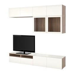 BESTÅ TV storage combination/glass doors, Selsviken high-gloss/white clear glass, grey stained walnut effect Width: 240 cm Depth: 40 cm Height: 230 cm