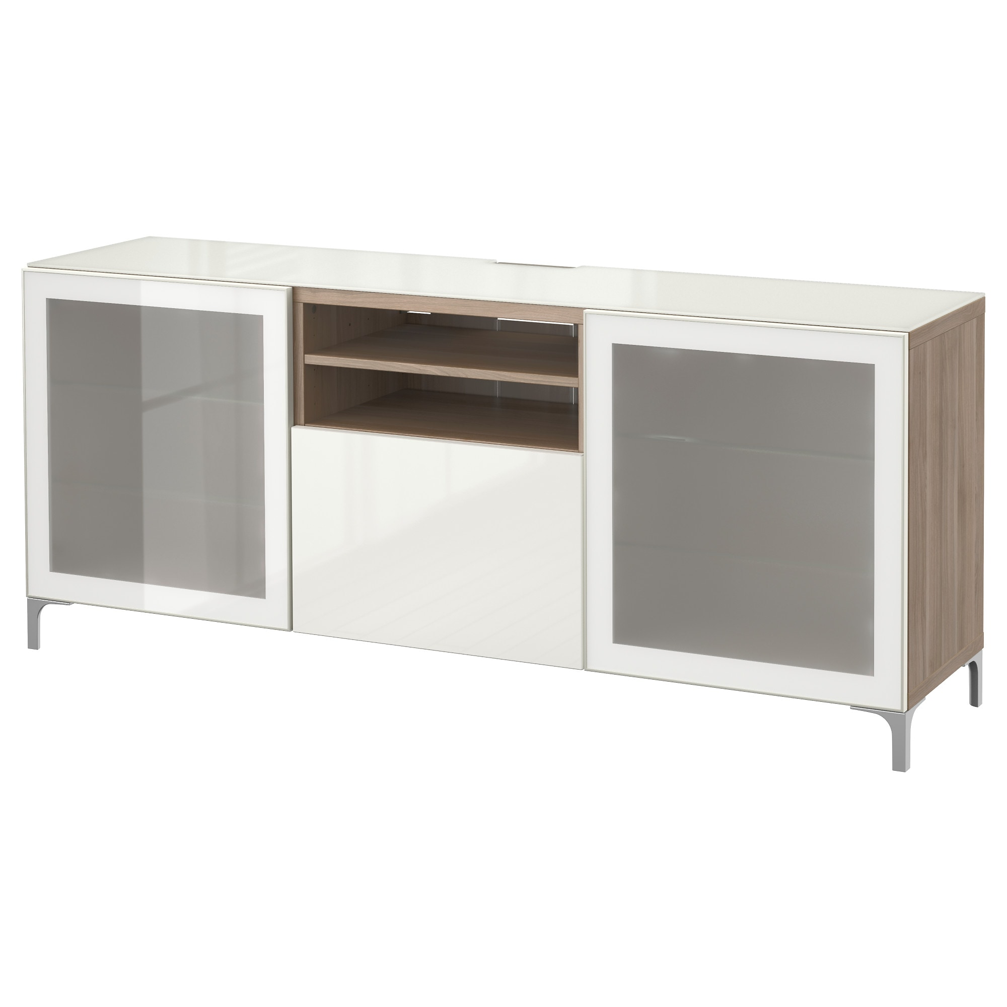 Best Banc Tv Lappviken Sindvik Blanc Verre Transparent  # Meuble Tv En Verre Ikea