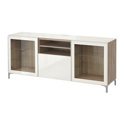BESTÅ TV bench, Selsviken high-gloss/white clear glass, grey stained walnut effect Width: 180 cm Depth: 40 cm Height: 74 cm