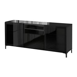 BESTÅ TV bench, Selsviken high-gloss/black clear glass, black-brown Width: 180 cm Depth: 40 cm Height: 74 cm