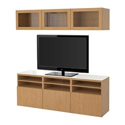 BESTÅ TV storage combination/glass doors, Sindvik oak effect clear glass, Lappviken Width: 180 cm Depth: 40 cm Height: 192 cm
