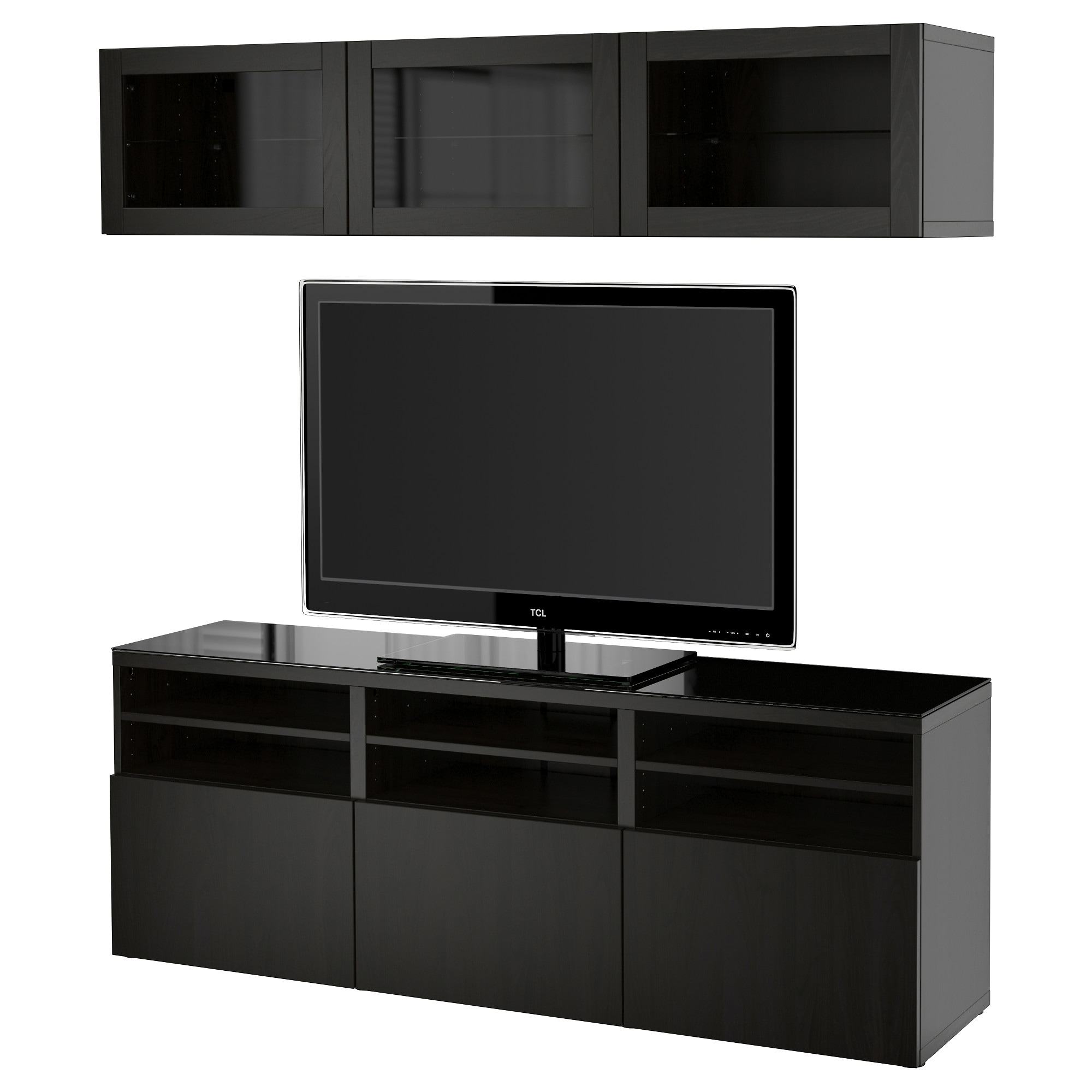 BEST TV Storage Combination Glass Doors Lappviken Sindvik Black Brown Clear