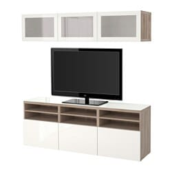 BESTÅ TV storage combination/glass doors, Selsviken high-gloss/white frosted glass, grey stained walnut effect Width: 180 cm Depth: 40 cm Height: 192 cm