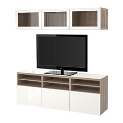 "BESTÅ TV storage combination/glass doors, walnut effect light gray, Selsviken high gloss/white clear glass Width: 70 7/8 "" Depth: 15 3/4 "" Height: 75 5/8 "" Width: 180 cm Depth: 40 cm Height: 192 cm"