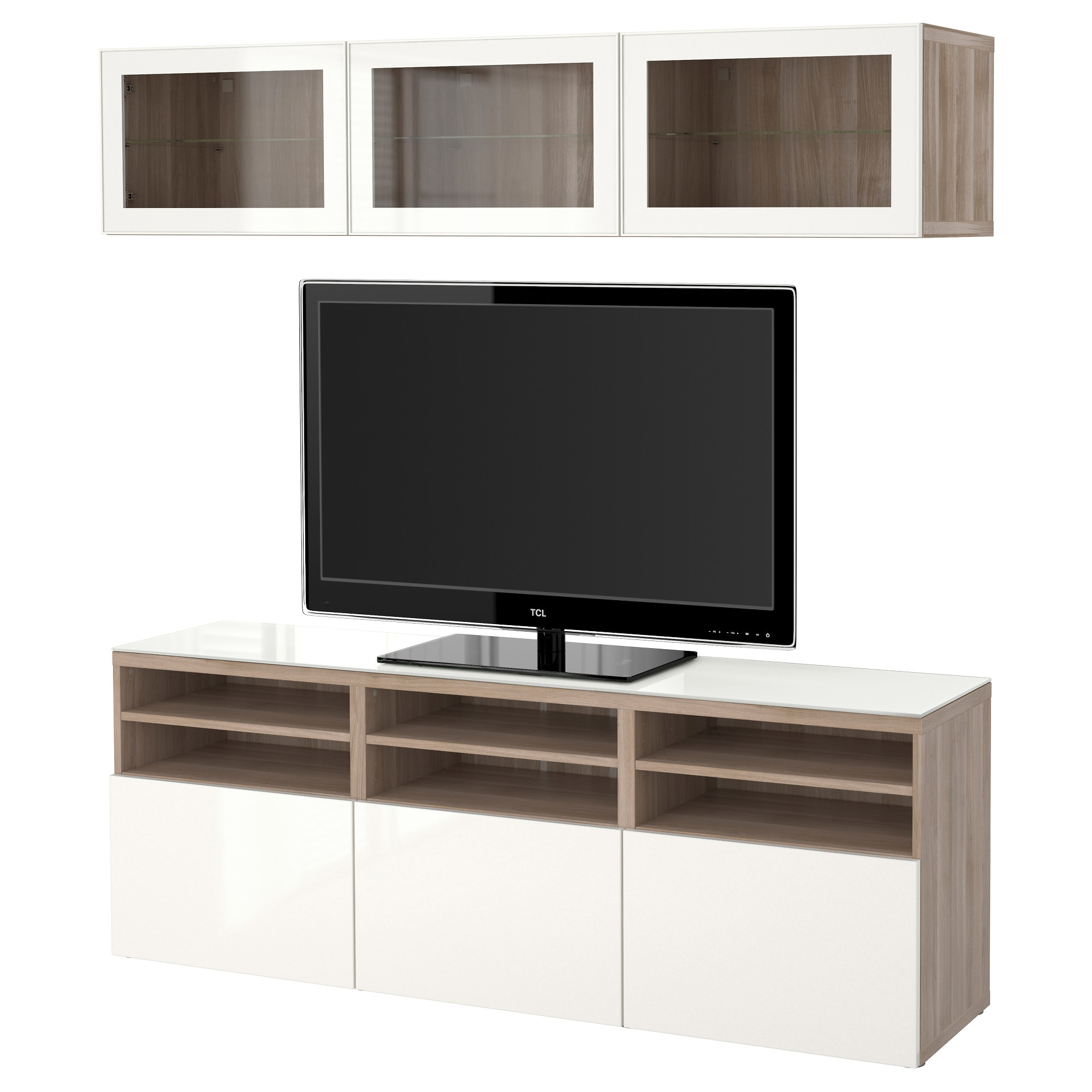 Best Tv Storage Combination Glass Doors Walnut Effect Light  # Table De Tele En Verre
