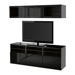 "BESTÅ TV storage combination/glass doors, Selsviken high gloss/black clear glass, black-brown Width: 70 7/8 "" Depth: 15 3/4 "" Height: 75 5/8 "" Width: 180 cm Depth: 40 cm Height: 192 cm"