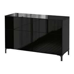 "BESTÅ storage combination with drawers, Selsviken high-gloss/black, black-brown Width: 47 1/4 "" Depth: 15 3/4 "" Height: 29 1/8 "" Width: 120 cm Depth: 40 cm Height: 74 cm"