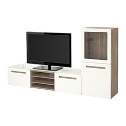 "BESTÅ TV storage combination/glass doors, Marviken white clear glass, walnut effect light gray Width: 94 1/2 "" Depth: 15 3/4 "" Height: 50 3/8 "" Width: 240 cm Depth: 40 cm Height: 128 cm"