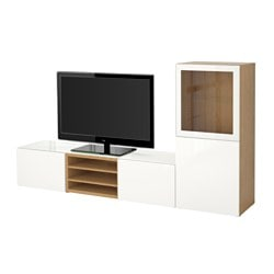 BESTÅ TV storage combination/glass doors Width: 240 cm Depth: 40 cm Height: 128 cm