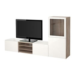 BESTÅ TV storage combination/glass doors, Selsviken high-gloss/white clear glass, grey stained walnut effect Width: 240 cm Depth: 40 cm Height: 128 cm