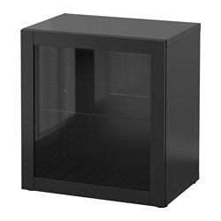 BESTÅ shelf unit with glass door, Sindvik black-brown Width: 60 cm Depth: 40 cm Height: 64 cm