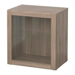 "BESTÅ shelf unit with glass door, Sindvik walnut effect light gray Width: 23 5/8 "" Depth: 15 3/4 "" Height: 25 1/4 "" Width: 60 cm Depth: 40 cm Height: 64 cm"