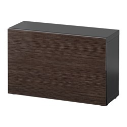 "BESTÅ shelf unit with door, black-brown, Selsviken high-gloss/brown Width: 23 5/8 "" Depth: 7 7/8 "" Height: 15 "" Width: 60 cm Depth: 20 cm Height: 38 cm"