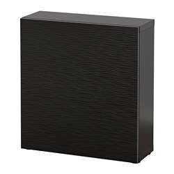 BESTÅ shelf unit with door, Laxviken black, black-brown Width: 60 cm Depth: 20 cm Height: 64 cm