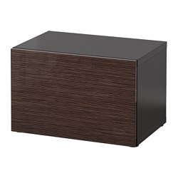 "BESTÅ shelf unit with door, black-brown, Selsviken high-gloss/brown Width: 23 5/8 "" Depth: 15 3/4 "" Height: 15 "" Width: 60 cm Depth: 40 cm Height: 38 cm"