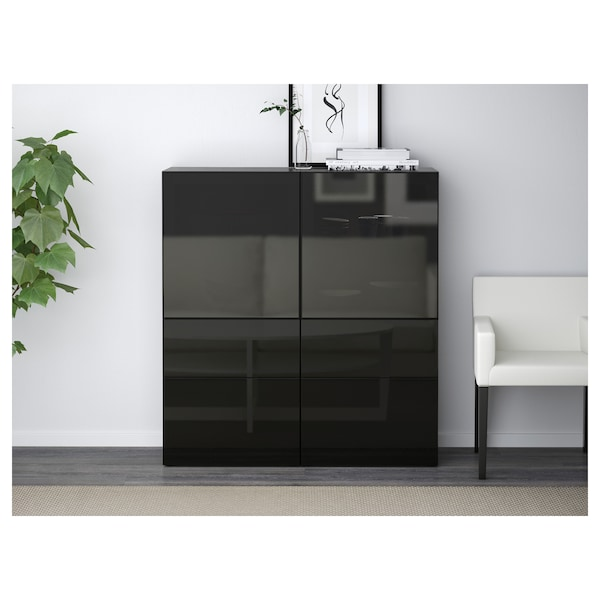 best vitrine schwarzbraun selsviken hochglanz rauchglas schwarz ikea. Black Bedroom Furniture Sets. Home Design Ideas
