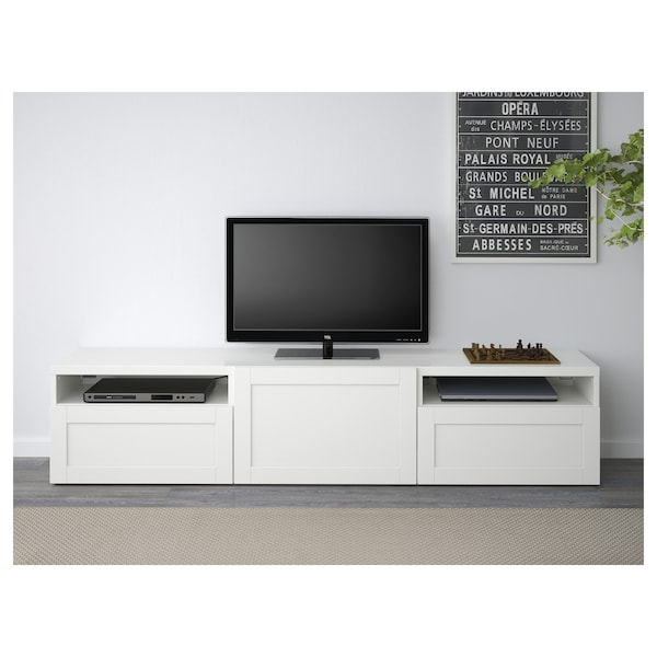best tv bench hanviken white ikea. Black Bedroom Furniture Sets. Home Design Ideas