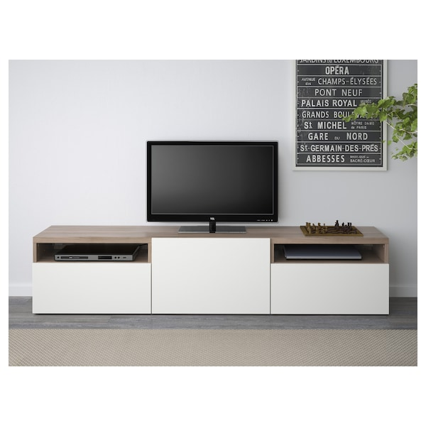 Porta Tv Ikea Bianco.Besta Tv Bench Walnut Effect Light Gray Lappviken White