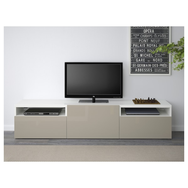 best tv bank wei selsviken hochglanz beige ikea. Black Bedroom Furniture Sets. Home Design Ideas