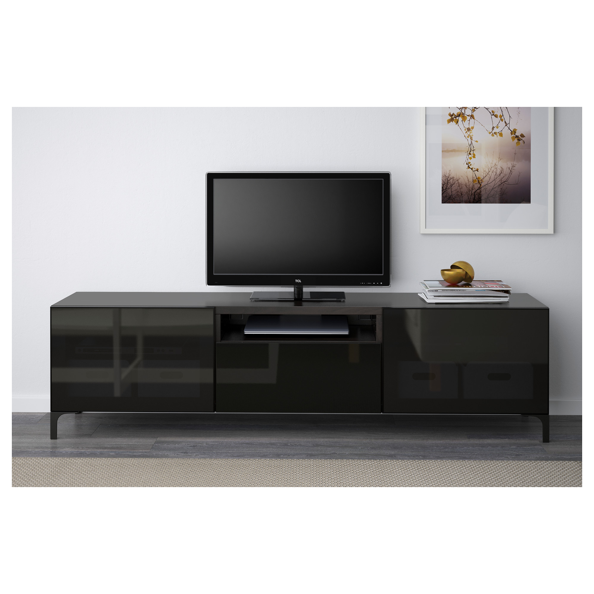 BEST  TV unit   Lappviken Sindvik white clear glass  drawer runner   push open   IKEA. BEST  TV unit   Lappviken Sindvik white clear glass  drawer runner