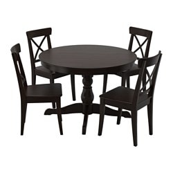 INGATORP /  INGOLF table and 4 chairs, brown-black, black Length: 155 cm Diameter: 110 cm Height: 74 cm