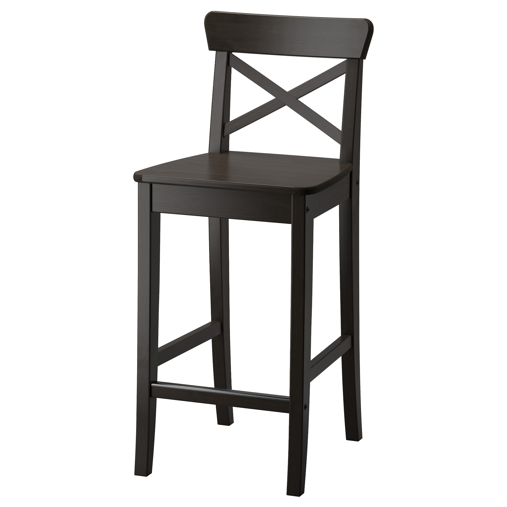 INGOLF bar stool with backrest, brown-black Tested for: 220 lb Width: