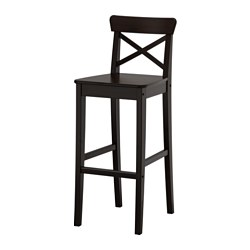 INGOLF, Bar stool with backrest, brown-black
