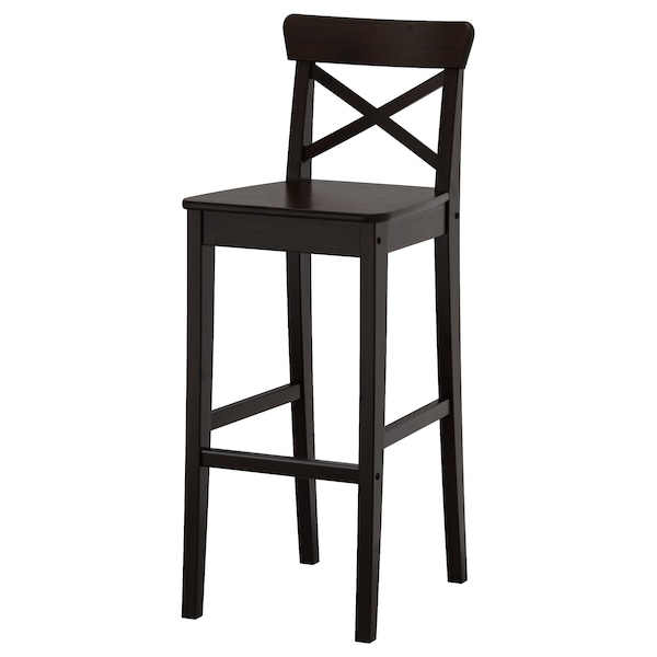 Ingolf Bar Stool With Backrest Brown Black Ikea
