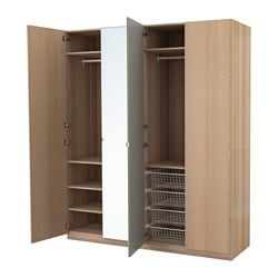 PAX wardrobe, white stained oak effect, Nexus Vikedal