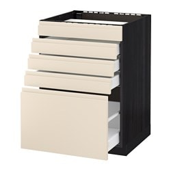 METOD /  MAXIMERA base cab f hob/5 fronts/4 drawers, Voxtorp light beige, black Width: 60.0 cm Depth: 62.1 cm Frame, depth: 60.0 cm