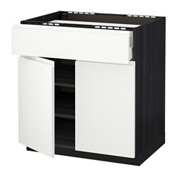 METOD /  MAXIMERA base cab f hob/drawer/shelves/2 drs, Voxtorp white, black Width: 80.0 cm Depth: 62.1 cm Frame, depth: 60.0 cm