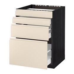 METOD /  MAXIMERA base cab f hob/4 fronts/3 drawers, Voxtorp light beige, black Width: 60.0 cm Depth: 62.1 cm Frame, depth: 60.0 cm