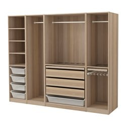 Pax wardrobe white stained oak effect width 250 0 cm depth 58 0 cm height - Placard modulable ikea ...