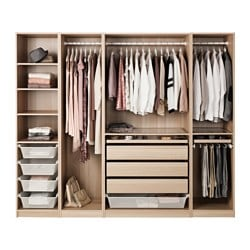 PAX wardrobe, white stained oak effect Width: 250.0 cm Depth: 58.0 cm Height: 201.2 cm