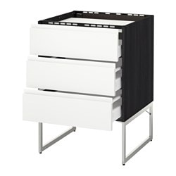 METOD /  MAXIMERA base cab f hob/3 fronts/3 drawers, Voxtorp white, black Width: 60 cm Depth: 62.1 cm Frame, depth: 60 cm