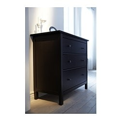 Hemnes 3 Drawer Chest Black Brown
