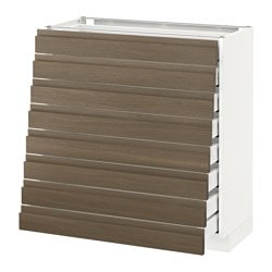 METOD /  MAXIMERA base cabinet 8 fronts/8 low drawers, Voxtorp walnut, white Width: 80.0 cm Depth: 39.1 cm Frame, depth: 37.0 cm