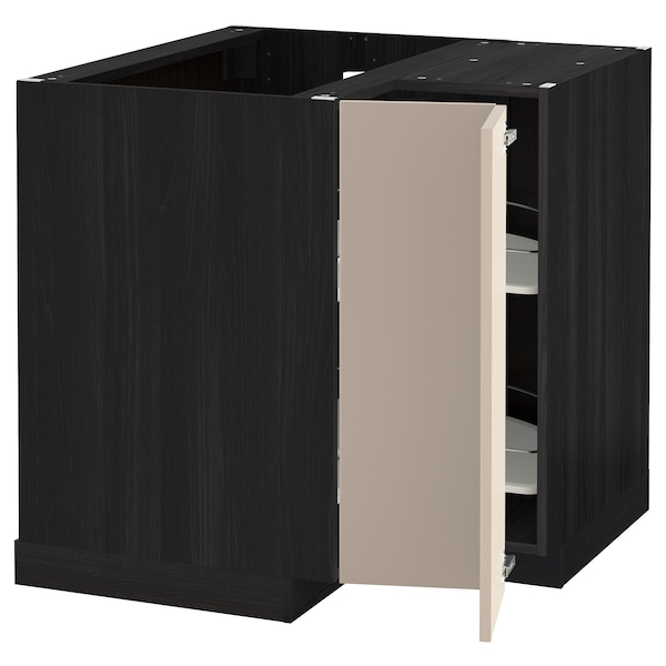 metod eckunterschrank karussell schwarz ubbalt dunkelbeige ikea. Black Bedroom Furniture Sets. Home Design Ideas