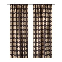 NINNI RUND curtains with tie-backs, 1 pair, brown Length: 250 cm Width: 145 cm