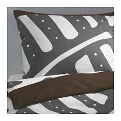 "STOCKHOLM duvet cover and pillowcase(s), gray/white Duvet cover length: 86 "" Duvet cover width: 86 "" Pillowcase length: 20 "" Duvet cover length: 218 cm Duvet cover width: 218 cm Pillowcase length: 51 cm"