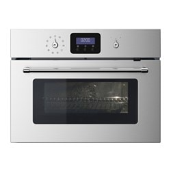 GRÄNSLÖS microwave combi with forced air, stainless steel Width: 59.4 cm Depth: 56.7 cm Height: 45.5 cm