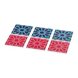 DOFTRIK coaster, assorted colours Length: 8 cm Width: 8 cm Package quantity: 6 pieces