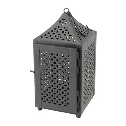 DOFTRIK lantern for tealight, in/outdoor, black Height: 28 cm