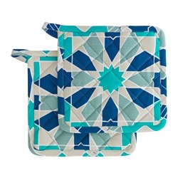 DOFTRIK pot holder, blue Length: 22 cm Width: 22 cm Package quantity: 2 pack