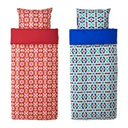 DOFTRIK quilt cover and 2 pillowcases, red, blue Quilt cover length: 200 cm Quilt cover width: 150 cm Pillowcase length: 50 cm