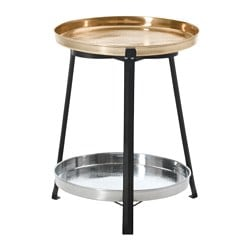 DOFTRIK tray table, gold/silver-colour Diameter: 44 cm Height: 54 cm