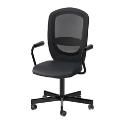 "FLINTAN /  NOMINELL swivel chair with armrests, black Tested for: 242 lb 8 oz Width: 29 1/8 "" Depth: 27 1/8 "" Tested for: 110 kg Width: 74 cm Depth: 69 cm"